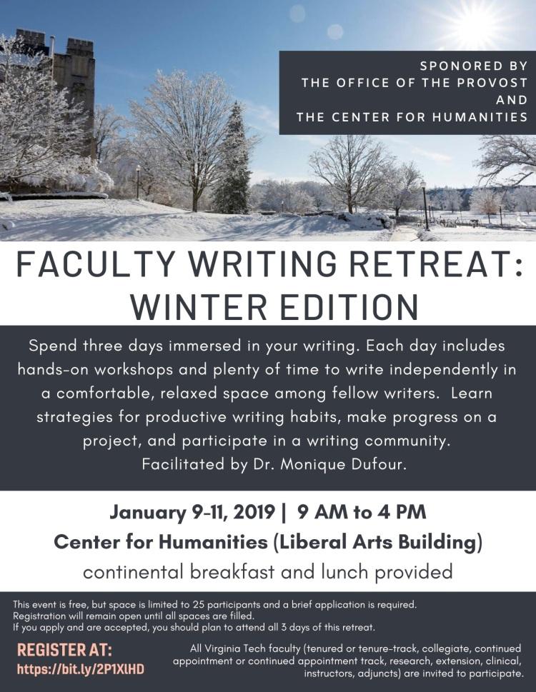 Winter Faculty Writing Retreat flyer